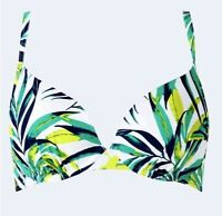 NEW PLUNGE BIKINI TOP UNDERWIRED WHITE MIX GREEN PRINT MARKS /& SPENCER