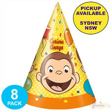 CURIOUS GEORGE BIRTHDAY PARTY SUPPLIES 8 CONE HATS LOOT FAVOURS