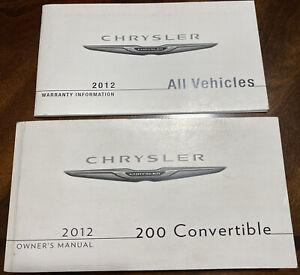 2012 Chrysler 200 Convertible Owners Manual User Guide Book