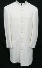 Men's Ivory Andrew Fezza Tuxedo Jacket Frock Coat Long Mandarin Nehru Collar 41L