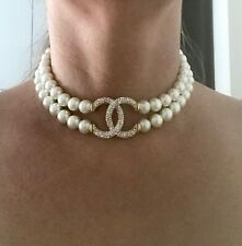 Nuevo Collar de Perlas Perlas de Champán Tono Oro 2 hebras brillantes Suave impresionante