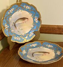 1900s Pr. Latrille Frères Limoges Hand-Ptd. Fish Plates~Turquoise, Gold Wow!