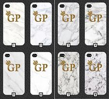 White and Gold Glitter Marble Phone Case Initials Cheap Marbel iPhone Design