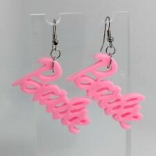 Candy Pink Peach Geek Barbie Earrings Pastel Plastic Resin Silver Hooks G051 6cm