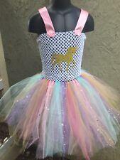 Kids Girls Unicorn Outfit Tutu Dress Rainbow Party Princess Cosplay Costume Set