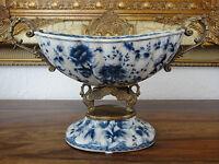 Luxus Prunkschale Porzellan Bronze Jugendstil Schale Zwiebelmuster Schwäne Antik