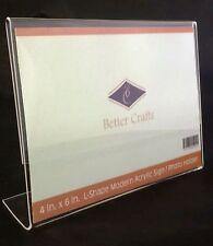 Better Crafts Horizontal Slanted L-Shape Acrylic Sign Holder - 2 Pack.