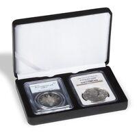 Black Leatherette Slab Box For 2 Certified Graded Coins Lighthouse Noblie Case