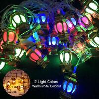 10 LED Lantern String Light EID Ramadan Moon Party Decor Islamic Colorful Lamp