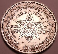 Massive Silver Morocco AH1356 (1956) 500 Francs~Minted In Paris~Free Shipping
