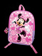 DISNEY - Ages 3 and up -  Minnie Mouse Hearts Pink Vinyl & Canvas BACKPACK