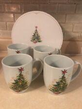 Pottery Barn Christmas Tree Mug Set (4) Ceramic Holiday Winter Coffee Hot Cocoa