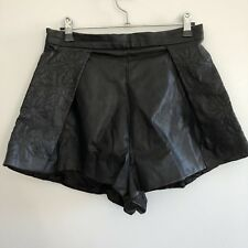 Finders Keepers Women's High Waisted Shorts Size M Viscose/PU Leather Black