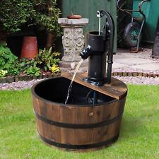 Water Pump Fountain Barrel Elctric Tap Patio Wood Outdoor Garden