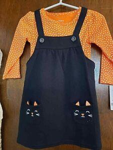 BABY GIRL 9 M CARTERS BLACK ORANGE CAT JUMPER AND LONGSLEEVE BODY SUIT NWT $28