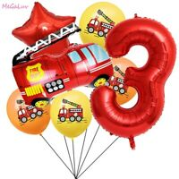 Fireman Theme 32'' Number Foil Balloons Fire Truck Kids Birthday Party Supplies