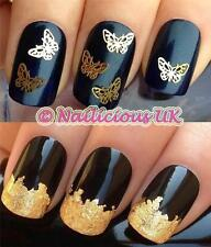 x20 3D GOLD BUTTERFLY NAIL ART SHAPES DECORATIONS DECALS ALLOYS & GOLD LEAF #537