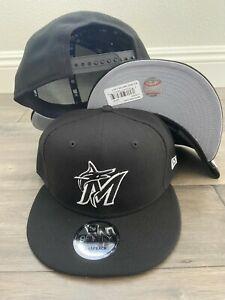 Miami Marlins Black White New MLB Snap Snapback 9Fifty New Era CAP Hat 950 OSFM