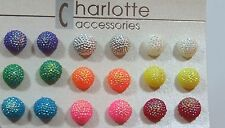 Ball Sphere stud earring set 9 pr Sparkle party favors Fun 3/8 inches wide G
