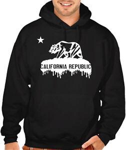 New Men's Dripping California Republic Black Hoodie Cali Bear Graphic Sweater