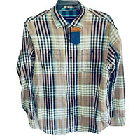$118 Tommy Bahama Mens L/S Plaid Shirt Large Parana Plaid Tiger's Eye Blue Beach