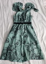 Leifsdottir- Green Print Silk Flutter Sleeve Dress Sz 6
