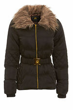 NEW WOMENS BLACK WINTER QUILTED FAUX FUR COAT LADIES PADDED BELT JACKET SIZE8-16