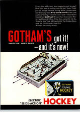 1962 PAPER AD Toy Gotham Pro Slide Action Electric Hockey Game Magnetic Puck