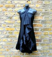 TED BAKER Women's Black Satin Ruffle Sleeveless Hem Top Wrap Dress Size UK 8
