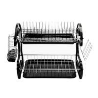 Hot Style 2 Tier Home Basics Dish Drainer Drying Rack Washing Organizer Black US