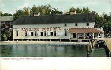 c1906 Postcard; Forest Beach, Paw Paw Lake MI Berrien Co. Pavilion Comfort