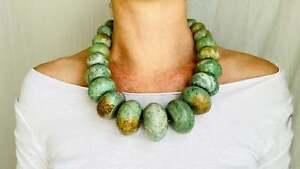 Guatemalita Jade Graduated Choker Necklace. Guatemalan. Mayan Artisan.
