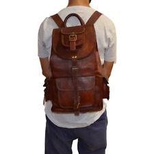 Men's Genuine Leather Luggage Backpack Hiking Camping Travel Brown Rucksack Bag