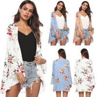 Women Loose Floral Kimono Cotton Cardigan Coat Jacket Outwear Top Plus