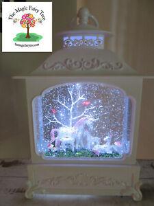 White LED unicorn family glitter lantern waterball snow globe light night
