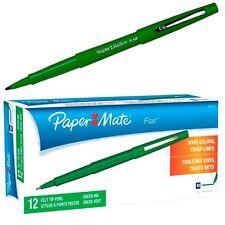 Paper Mate Flair Felt Tip Pen, Green Ink, Medium Point, 8440152, Box of 12
