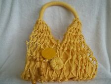 KMS Yellow Stylish Large SUN PURSE / BEACH BAG Crochet Style with Linen Lining!!
