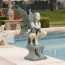 Magical Celtic Fairy on Plinth Garden Sculpture Faerie Decor Statue - Large
