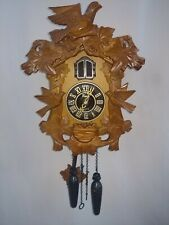 THE TIME COMPANY LARGE ANIMATED QUARTZ CUCKOO CLOCK CARVED ALL-WOOD CASE