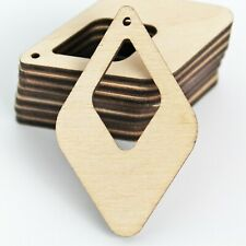 ALL SIZES (12pc to 100pc) Unfinished Wood Laser Rounded Diamond Cutout Earrings