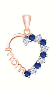 Round Cut and Blue Sapphire 18K Rose Gold Over Heart MOM Pendant Valentine Gifts
