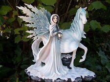 15446   GRANDE  FIGURINE  STATUETTE FEE ELFE  PEGASE   HEROIC  GM FAIRY DREAMS