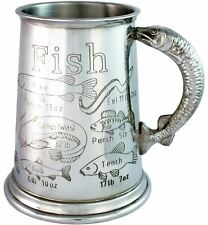 More details for fishing gift pewter 1pt tankard great fishing weight records gift for fishermen