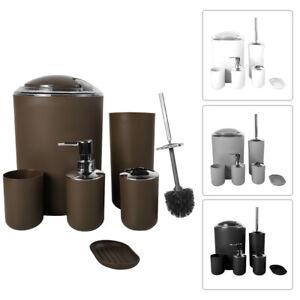 6PCs Bathroom Accessory Set Toothbrush Holder Cup Soap Dispenser Dish Set