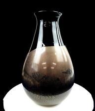 """STUDIO ART GLASS SIGNED BLACK AMETHYST GOLD AND SILVER FOIL LARGE 13 5/8"""" VASE"""