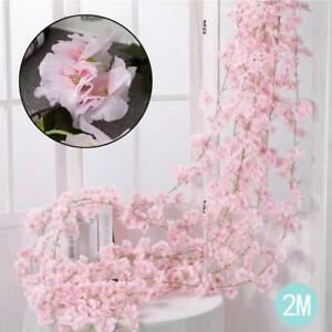 2M Artificial Cherry Rattan Fake Flower Hanging Wedding Decor Garland Plant