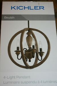 Kichler Beulah Olde Bronze and Wood Tone Farmhouse Pendant Light