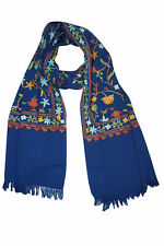 INDIAN LOVELY KASHMIRI CREWEL FLORAL EMBROIDERED WOOLEN BLUE SHAWL STOLE WRAP