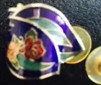 Deep Blue Green  and White Cloisonne Earrings for Pierced Ears. Floral Pattern