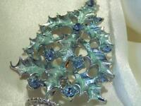 Beautiful Tree Of Life Blue Enamel Sparkling Rhinestone Vintage 60's Brooch 82M8